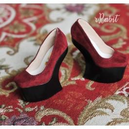 1/3 Girls Highheels /DD [Coven Four] Curve Platform High Heels - Red Velvet (Basic Ver.)