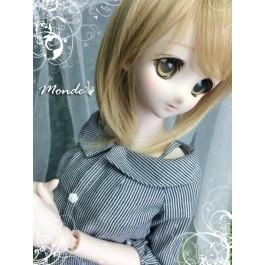 [Monde] 1/3 Girl - Cold Shoulder  Loose Trendy T-Shirt /ONT130857 (Black & White Stripe)