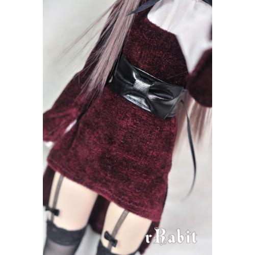 1/4 [Leather Ribbon Belt] Black - AS012 001