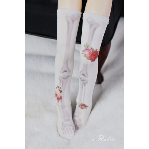 [1/4/MSD/MDD] Sock -Rose skeleton (White) - BS210104