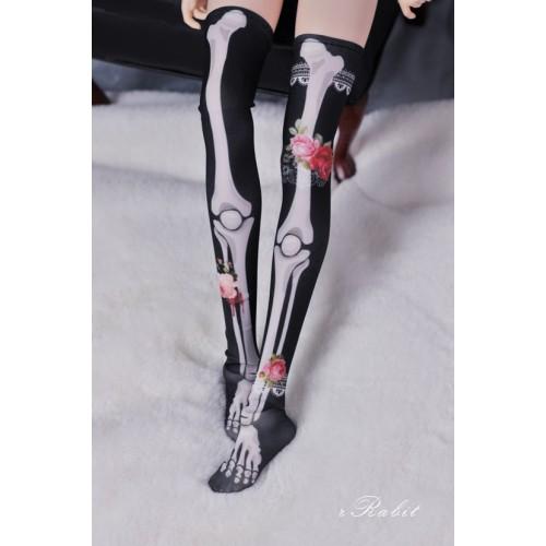 1/3 Girl/DD Socks - Rose skeleton (Black) - BS210106