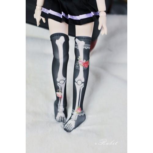 [1/4/MSD/MDD] Sock - Rose skeleton (Black) - BS210106