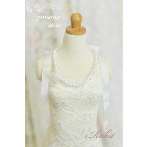 1/3 - Ribbon w/ Jewelry pearl necklace - JP160302 (White)