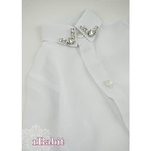 [Limited] 70cm up+ * Chiffon+Stone Shirt - LC009 002 White