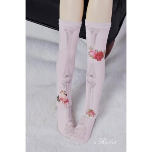 [1/4/MSD/MDD] Sock -Rose skeleton (Pink) - BS210105
