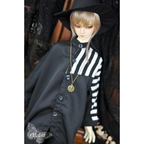 1/3 Boy [Jessie Cold] Flying squirrel sleeve x Irregualr hem shirt - HL044 2002 (B&W Stripe X Black)