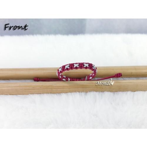 [Monde] 1/3 Lover Bracelets (Cross) Wine-x-Gray
