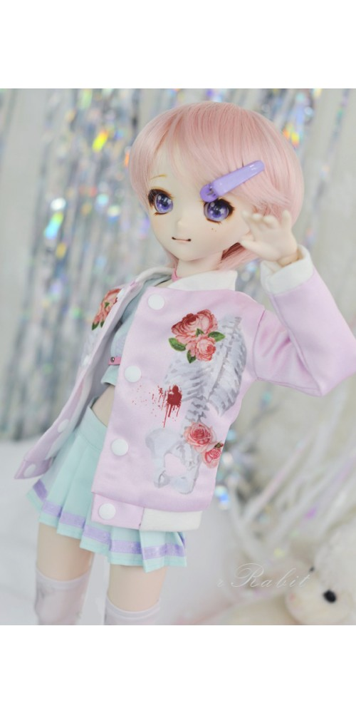 [1/4 MSD/MDD] Bone's Varsity jacket - Pink Skeleton SH060 2103